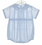 NEW Feltman Brothers Pale Blue Romper with Pintucks and Embroidery