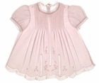 "<img src=""https://p11.secure.hostingprod.com/@grammies-attic.com/ssl/images/blue-sold-1.gif""> NEW Feltman-Brothers Pale Pink Baby Dress with Lace Insertion and Embroidery"