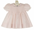 NEW Hand Embroidered Pale Pink Smocked Baby Dress with Lace Trimmed Collar