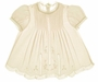 "<img src=""https://p11.secure.hostingprod.com/@grammies-attic.com/ssl/images/blue-sold-1.gif""> NEW Feltman-Brothers Palest Yellow Baby Dress with Lace Insertion and Embroidery"