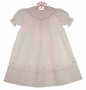 NEW Feltman Brothers Pink Bishop Smocked Dress with Delicate Rosebud Embroidery