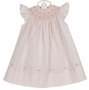 """<img src=""""https://p11.secure.hostingprod.com/@grammies-attic.com/ssl/images/blue-sold-1.gif""""> NEW Feltman Brothers Pink Bishop Smocked Dress with Pearl Centered Flowers"""