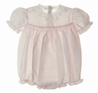 """<img src=""""https://p11.secure.hostingprod.com/@grammies-attic.com/ssl/images/blue-sold-1.gif""""> NEW Feltman Brothers Pink Smocked Bubble with Lace and Embroidery"""