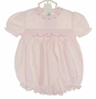 NEW Feltman Brothers Pink Smocked Bubble with Puffed Sleeves and Embroidered Rosebuds
