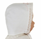 NEW Feltman Brothers White Batiste Bonnet with Bow Embroidery and Lace Trim