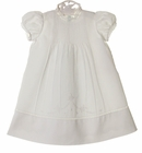 NEW Feltman Brothers White Mid-length Christening Gown with Pintucks, Embroidery, and Lace Insertion