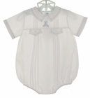 NEW Feltman Brothers White Pintucked Romper with Blue Teddy Bear Embroidery