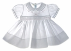 "<img src=""https://p11.secure.hostingprod.com/@grammies-attic.com/ssl/images/blue-sold-1.gif""> NEW Feltman Brothers White Smocked Baby Dress with Pink Embroidery"