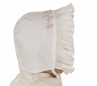 NEW Feltman Brothers White Smocked Bonnet with Pink Rosebud Embroidery