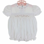 NEW Feltman Brothers White Smocked Bubble with Puffed Sleeves and Pink Embroidered Rosebuds