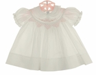 NEW Feltman Brothers White Smocked Dress with Pink Embroidery and Lace Trim
