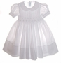 """<img src=""""https://p11.secure.hostingprod.com/@grammies-attic.com/ssl/images/blue-sold-1.gif""""> NEW Feltman Brothers White Smocked Toddler Dress with White Embroidery"""