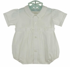 Heirloom Unworn Feltman Brothers White Pintucked Romper with Fagoted Embroidered Collar