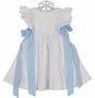 "<img src=""https://p11.secure.hostingprod.com/@grammies-attic.com/ssl/images/blue-sold-1.gif""> NEW Funtasia White Seersucker Pinafore Style Dress with Blue Ribbons"