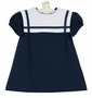 NEW Funtasia Navy Blue Linen Sailor Dress with White Portrait Collar