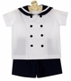 NEW Funtasia White Cotton Sailor Shorts Set with Navy Blue Trim