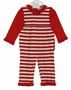 NEW Gabiano Red and White Striped Monogrammable Sleeper Style Pajamas with Ruffles