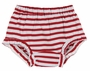 NEW Girls Red Striped Cotton Knit Diaper Cover with Ruffled Trim