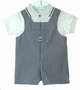 NEW Goodlad Black Checked Shortall Set with White Knit Shirt and Embroidered Sailboat
