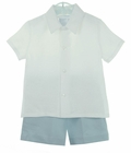 NEW Gordon and Company Blue and White Linen Shorts Set
