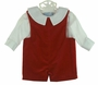 NEW Gordon and Company Red Velvet Shortall with Back Buttoned Tabs and Long Sleeved White Shirt