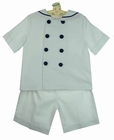 NEW Gordon and Company White Pique Shorts Set with Navy Trim