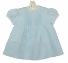 """<img src=""""https://p11.secure.hostingprod.com/@grammies-attic.com/ssl/images/blue-sold-1.gif""""> NEW Hand Embroidered Pale Blue Pintucked Dress with Embroidery and Lace Insertion"""