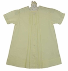 """<img src=""""https://p11.secure.hostingprod.com/@grammies-attic.com/ssl/images/blue-sold-1.gif""""> NEW Hand Embroidered Pale Yellow Daygown with Pintucks and Lace Trim"""