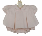 NEW Hand Embroidered Pink Pleated Diaper Set with Embroidery and Delicate Edging