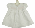 NEW Hand Embroidered White Daygown with Pink Smocking and Delicate Pink Embroidery