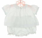 NEW Hand Embroidered White Pintucked Diaper Set with Lace Trimmed Collar