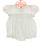 NEW Hand Embroidered White Smocked Preemie Bubble with Fagoting and Embroidery