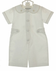 NEW Highland Porch White Cotton Romper with Ivory Embroidered Snowflakes