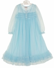 NEW Ice Blue  Nylon Peignoir Set for Toddlers, Little Girls, and Big Girls