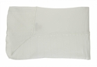 NEW Imagewear White Cotton Knit Blanket with White Ribbon Insertion