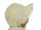 NEW Ivory Baby Bonnet with Lace Trim and Wide Face Ruffle