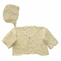 NEW ivory Cotton Knit Sweater and Bonnet Set with Delicate Openwork