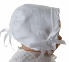 "<img src=""https://p11.secure.hostingprod.com/@grammies-attic.com/ssl/images/blue-sold-1.gif"">  NEW Keepsake Hanky Bonnet with Cross Embroidery and Scalloped Edges"