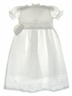 NEW Lauren Marie White Linen Christening Gown with Cutwork Embroidery