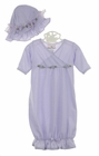 NEW Lavender Knit Gown and Matching Hat with Lavender Ribbon Rosebuds