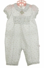 NEW Le Top White Plisse Cotton Rosebud Print Romper with Ruffled Bottom