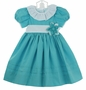 NEW Le' Za Me Aqua Dress with White Ruffled Collar and Flower Accent