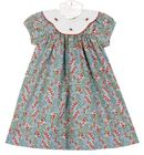 NEW Le' Za Me Blue Berry Print Dress with Rosebud Embroidered Collar