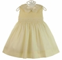 NEW Le' Za Me Butter Yellow Smocked Dress with Embroidered Rosebuds