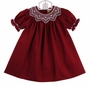 NEW Le' Za Me Cranberry Bishop Smocked Dress with Antique White Embroidery