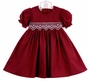 NEW Le' Za Me Cranberry Smocked Dress with Antique White Embroidered Waist