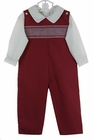 NEW Le' Za Me Cranberry Smocked Longall with Matching Ivory Shirt