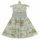 NEW Le' Za Me Ivory Smocked Dress with Pastel Bunny Toile Print