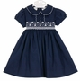 NEW Le' Za Me Navy Pique Smocked Dress with White Embroidery