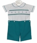 NEW Le' Za Me Teal and White Smocked Button on Shorts Set